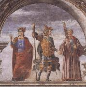 Domenico Ghirlandaio and Assistants,The Roman heroes Decius Mure,Scipio and Cicero Botticelli