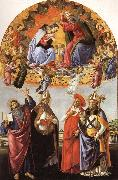 The Coronation of the Virgin with SS.Eligius,John the Evangelist,Au-gustion,and Jerome Botticelli