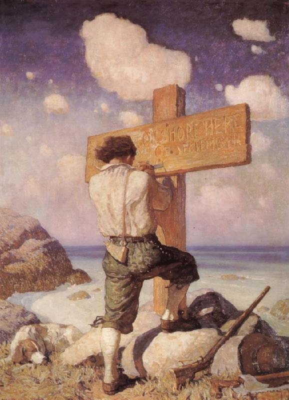 NC Wyeth -and making it into a great cross i set it up on the shore where i first landed