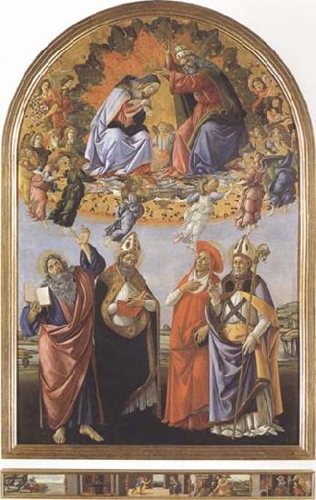 Sandro Botticelli Coronation of the Virgin,with Sts john the Evangelist,Augustine,Jerome and Eligius or San Marco Altarpiece